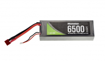Monstertronic 2S Lipo Akku 7,4V 6500mah 45C T-Plug Stecker Hardcase