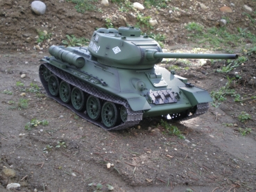 T34/85 Pro Edition 2,4 GHz R&S Metallgetriebe Metall-Treib/Leitrad Metallkette BB-Version Holzbox